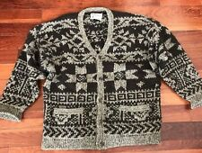 Abercrombie & Fitch Hand Knit Handmade 100% Wool Sweater Size Large Mens