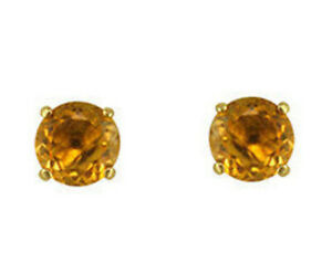 8mm Yellow Topaz Solitaire Stud Earrings Gemstone Studs 14k Yellow Gold Over