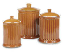 OmniWare Simsbury Stoneware Canister, Set of 3 - Honey Spice
