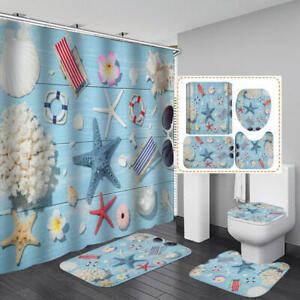 Nautical Shower Curtain Bath Mat Toilet Cover Rug Starfish Bathroom Decor