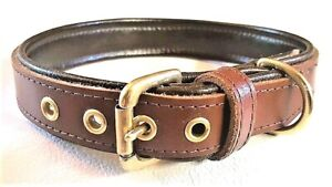 Tan and Brown and leather dog collar with solid brass hardware