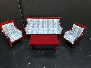 dolls house furniture mahogany/blue bench sofa/2 chairs/coffee table 1.12th