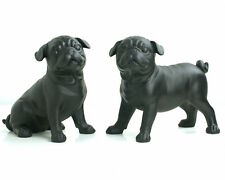 Lifestyle Deko Möpse Paar 20 cm schwarz Mops Hund Figur Skulptur Pug Dog black