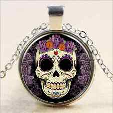 Glass Chain Pendant Necklace@1 Vintage Skull Cabochon Tibet silver