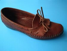 Dexter USA Womens Woven Leather Kiltie Red Brown Loafers Moccasins 6  M