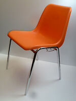 STAPELSTUHL STUHL Kunststoff Schale orange Chrom  90s stacking chair plastic