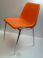 STAPELSTUHL STUHL Kunststoff Schale orange Chrom  90s stacking chair plastic