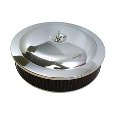 """14""""x3"""" Round Chrome Washable Reusable Filter Air Cleaner Drop/Recessed Base SBC"""