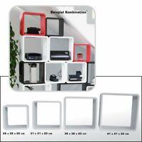 Design Cube Würfel Wandregal Cubes Retro Regal Würfelregal 4 Set  Weiss