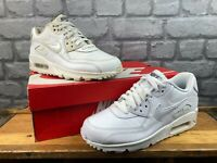 NIKE AIR MAX 90 WHITE LEATHER MESH IRIDESCENT TRAINERS CHILDRENS LADIES T