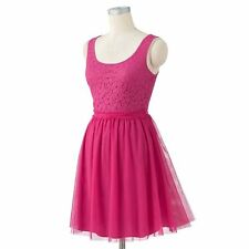 Lauren Conrad Pink Sleeveless Scoopneck Lace Tulle Dress X-SMALL;NWT