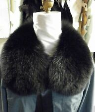 Real Dyed Black Fox with Ribbon Detachable  Fur Collar  made in the USA New