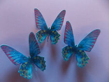 12 PRECUT Edible Blue wafer/rice paper Butterflies cake/cupcake toppers