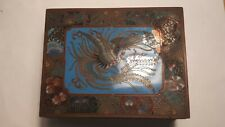 More details for antique japanese cloisonne box, meiji period, engraved interior.