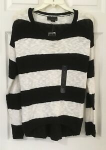 Attention Sz S Womens Black & White Striped Sweater NWT