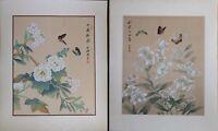 Pair of Oriental Painting, Asian Watercolor on Silk Paper, Butterflies on Flower
