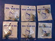 6 NEW WOLF RIVER RIGS SIZE 2 GOLD HOOK line bell sinker THREE WAY SWIVEL