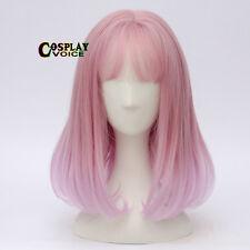 Wavy Pink Mixed Purple Fancy Party Lolita 40CM Short  Women Girl Cosplay Wig+Cap