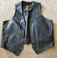 Unik Black Leather Motorcycle Biker Snap Button Vest Mens Size 46
