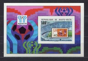 S5246) Haute Volta 1977 MNH Wc Football-cm Football S/S World Cup Stamps Imperf