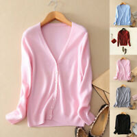 Womens Ladies Slim elastic Knitted Cardigan V-Neck Cashmere wool Jumper Sweat_HC