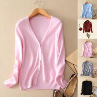 Womens Ladies Slim elastic Knitted Cardigan V-Neck Cashmere wool Jumper Sweat№U