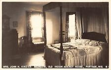 Portage Wisconsin~Indian Agency House~John Kinzie's Bedroom~1940 Real Photo~RPPC
