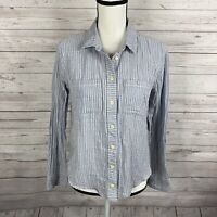 Madewell Women's Button Down Top Size Medium Blue Striped Tie Back Long Sleeve