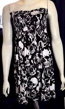 NEW Skull Rose Print Ruched Bandeau Top Dress by Buzy - 12/14