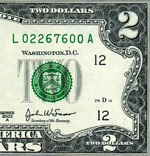 2003-A $2 FRN (( Birthday Note )) February 26, 1976 Uncirculated # L02267600A