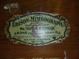 1887 Edison Mimeograph, Thomas A. Edison, A.B. Dick Company, Impression Papers