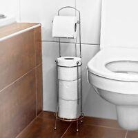 Elegant Free Standing 4 Roll Chrome Toilet Paper Tissue Dispenser Holder Stand