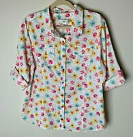 Christopher & Banks Women's Shirt Size Large Top Floral 1/2 Roll-Tab Sleeves