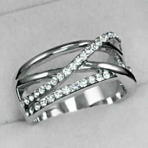 White Gold gp Lab Diamond Multi Cross Wide Band Wedding Party Ring