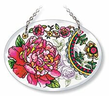 """Peony Flowers Sun Catcher Pink Amia 4.75"""" High Beveled New Small Oval Peonies"""