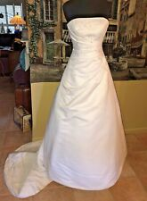Michaelangelo Davids Bridal White Beads Wedding Strapless Gown Dress Size 6
