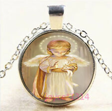 Baby Angel Cabochon Silver/Bronze/Black/Gold Glass Chain Pendant Necklace #6824