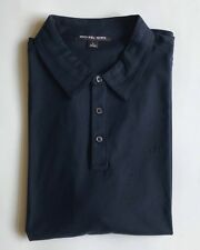 $75 NWT Mens Michael Kors MK Logo Short Sleeve Knit Polo Shirt Midnight Navy L
