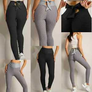 Women's Tie Bow Knot Back Scrunch Butt Waffle Textured Push Up Yoga Gym Leggings