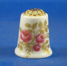 Birchcroft China Thimble -- Gold Leaf & Pink Roses Filigree -- Free Dome Box