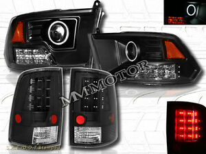 09-12 DODGE RAM 1500 2500 3500 CCFL HALO PROJECTOR HEADLIGHTS + LED TAIL LIGHTS