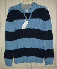 NWT Gymboree Boys Navy Blue Striped Cotton Zip Sweater Knitted Size 10-12 Large