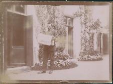 """France, Un homme lisant le journal """"Le Gaulois"""", ca.1900, vintage citrate print"""