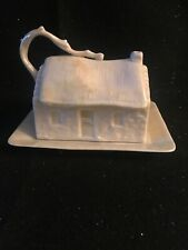 Nouvelle annonce VTG BELLEEK COUNTRY COTTAGE COVERED BUTTER / CHEESE DISH 3rd GREEN MARK 1965-81