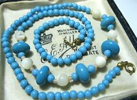 VINTAGE Jewellery Art Deco Turquoise Glass Bead Real Mother Of Pearl NECKLACE