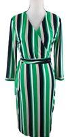 INC International Concept Women's Size Large Stripped Faux Wrap Dress Multicolor