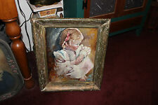 Stunning Renz Signed Oil Painting On Board-Portrait Young Girl Child-Distressed