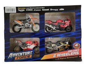 Adventure Force 4-Pack Die-Cast 2 Wheelers 1:18 Replica 4'' Motorcycles Toys