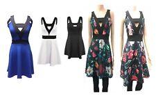 Vestido de Fiesta nuevo Para mujeres Damas Celebridad Cuello en V Vestido Skater 10 12 14 16 18 20 22