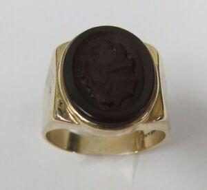 Mens Siffari Carnelian Soldier Cameo 10K Gold Ring Size 11.5, 9.1 grams